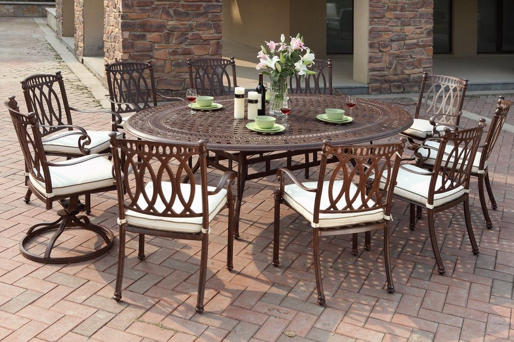 The Trussardi Collection 10 Person All Welded Cast Aluminum Patio Furniture  Dining Set