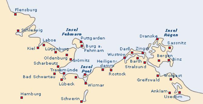 Flensburg Karte.Karte Flensburg Rügen Ostsee Flensburg To Lübeck