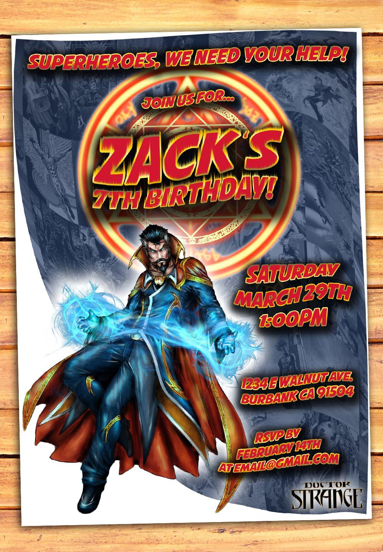 Doctor Strange Invitation Marvel Marvel Party Ideas