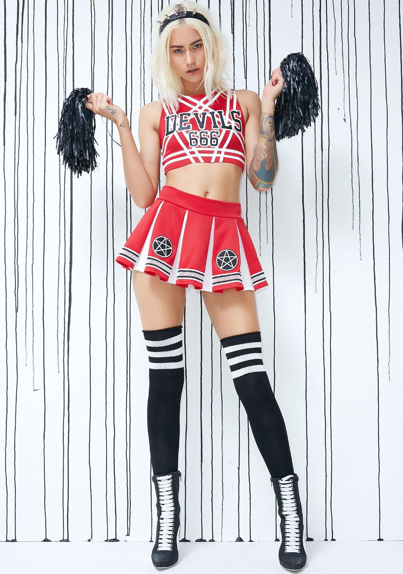 Satan\'s Cheerleader Set | Pleated mini skirt, Mini skirts and Costumes