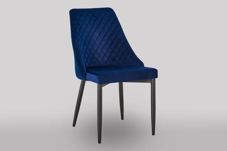 Beckie navy blue luxury velvet dining chair etsy