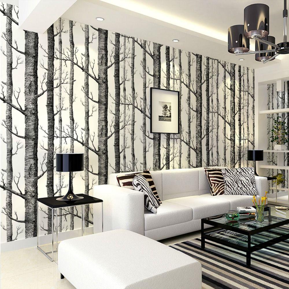 Birch Madeiras Wallpaper Rolo Moderno Do Padrão De Árvore