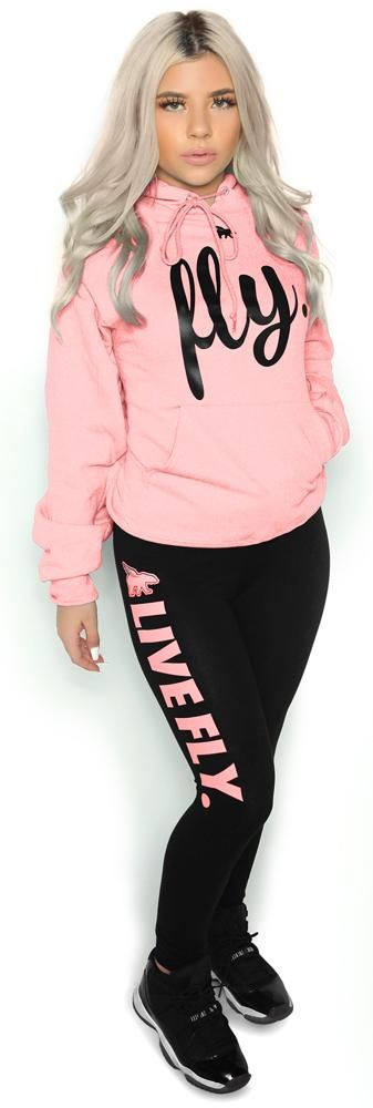 2675fe0bde958 FOREVER LIVE FLY. OUTFIT: Light Pink Hoodie/Black Leggings | Outfits ...