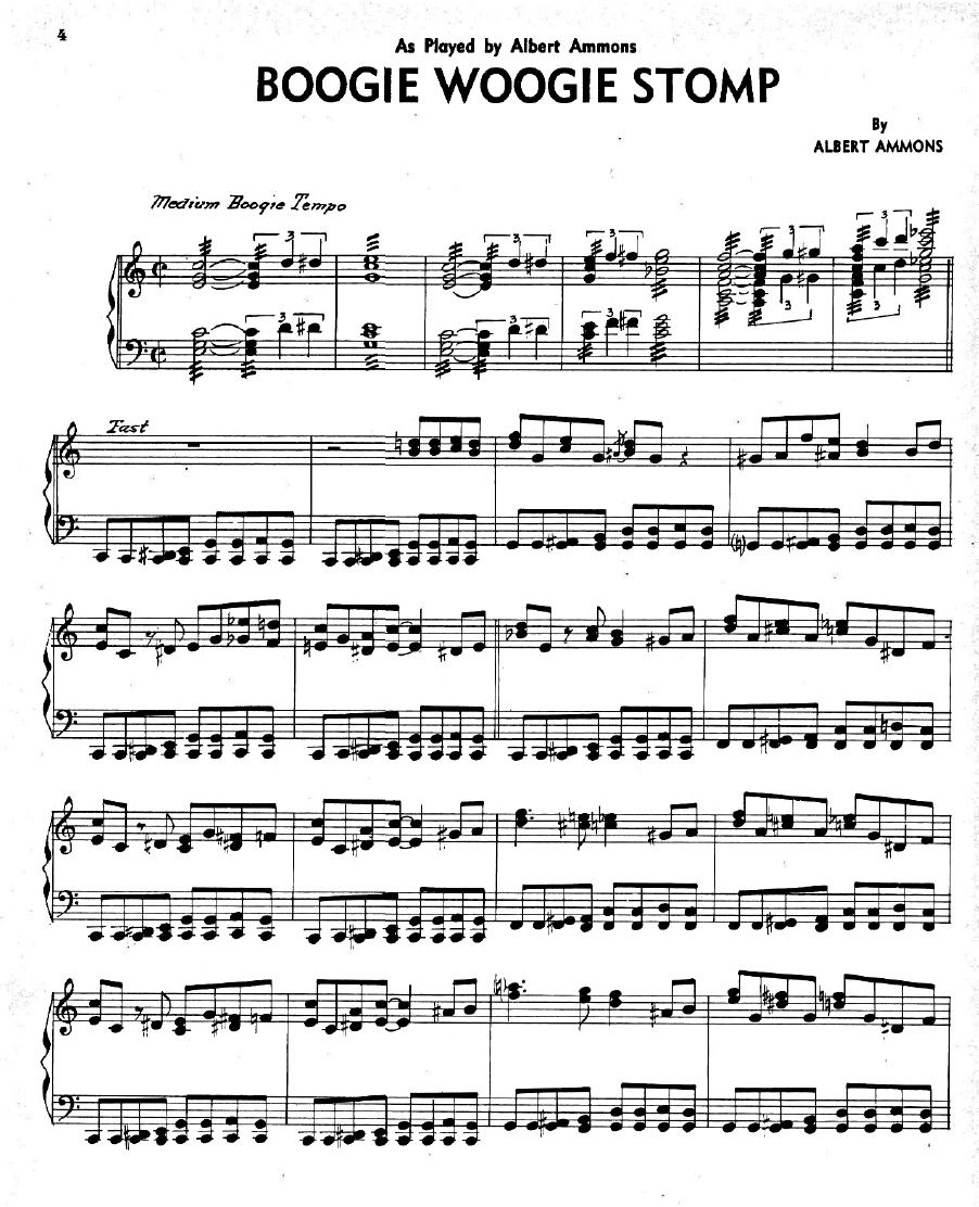"""Learning Blues Piano From Music Score: """"Boogie Woogie Stomp"""" Albert Ammons Sheet Music"""