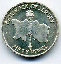 #50 пенсов - Джерси - 1972 - Юбилей - серебро 925 - 1000 р. #  KM # 35 по каталогу КраузеДжерси Гернси Мэн