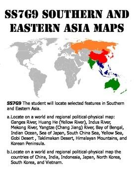 SS7G9ab Southern and Eastern Asia Map Pack | 7th grade ...