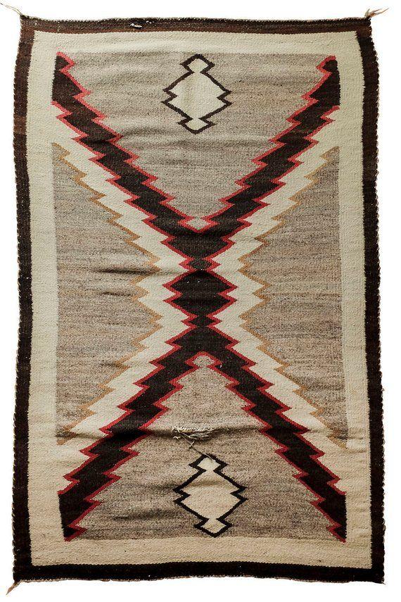 Vintage Navajo Rug Beautiful Geometric Storm Pattern X Design