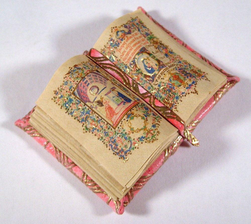 Miniature Book Medieval Gold Illuminated Open Book Ooak