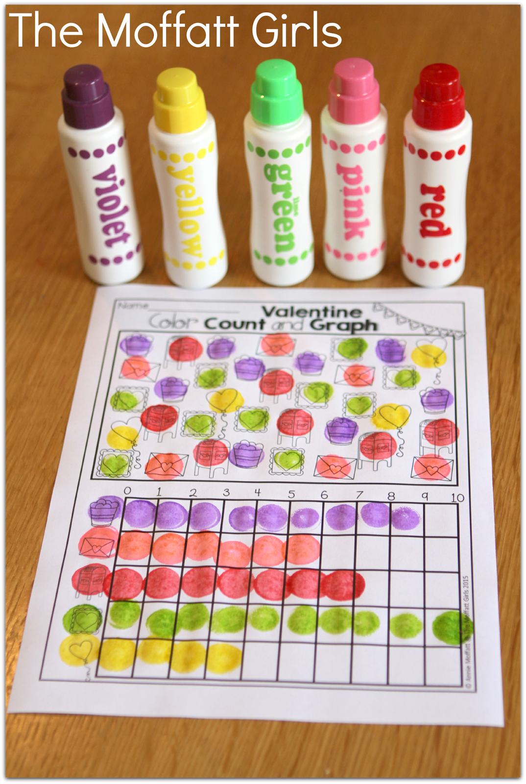 Valentine Color Count And Graph Tons Of Interactive Printables In The February No Prep Packets