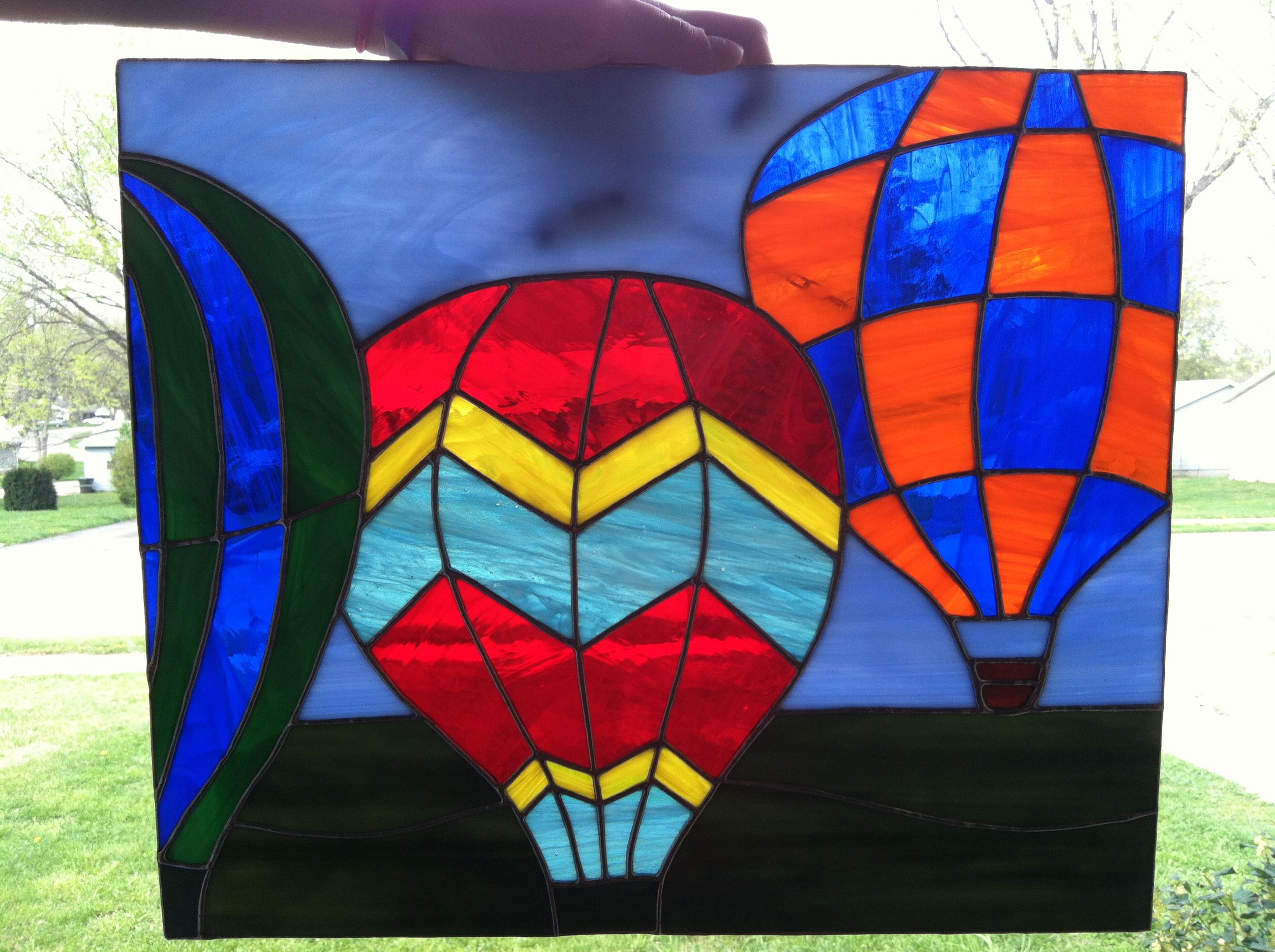 hot air balloon window Mosaic glass, Stained glass, Balloons