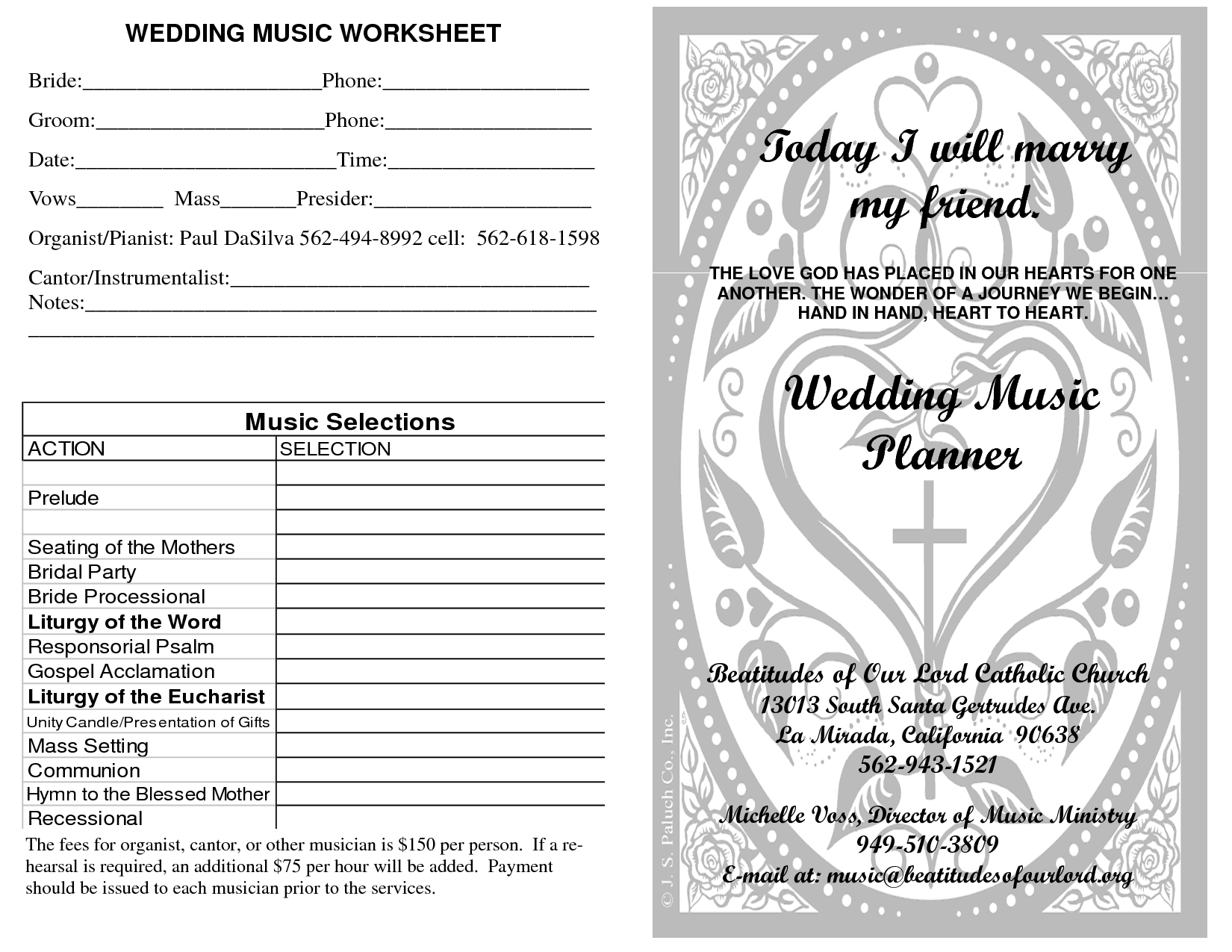 Beatitudes Worksheet Wedding Music Planner1