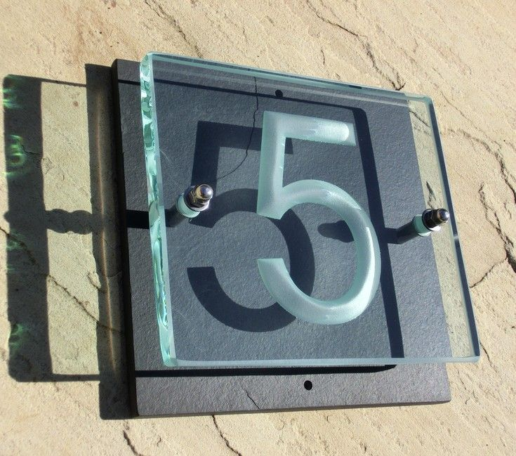 Small 400 X 400mm House Number Plaque Made Of Glass And Slate The No5 Is Arial Font Deep Sandblasted Into Back