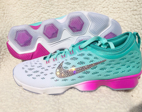 Swarovski Crystal Nike Zoom Fit Agility Training Bling Shoe Turquoise ccfc97fbf