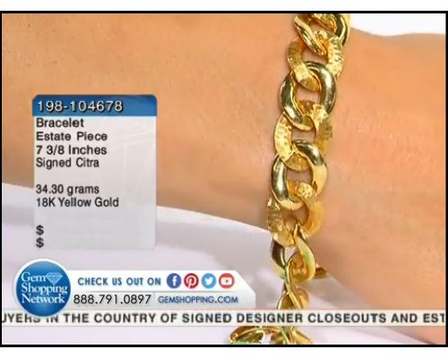 18K Yellow Gold Bracelet Length 7 3/8 inches (34.30 gram weight)