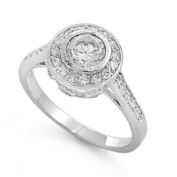 Jenna's 2CT Brilliant Cut Halo Pave Set Cubic Zirconia Ring
