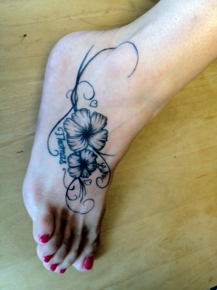 Black Ink Hibiscus Flowers Tattoo On Girl Foot | Hibiscus ...