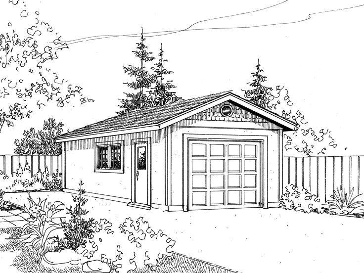 OneCar Plans Garage plan, Mediterranean house plans