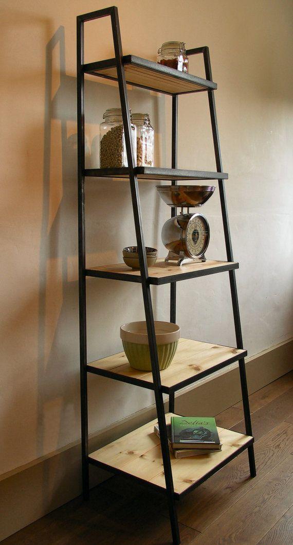 Industrial style ladder shelf unit