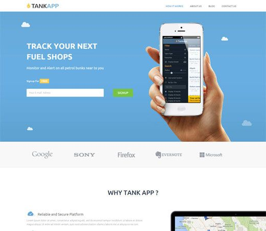free bootstrap tank app template flat responsive web template
