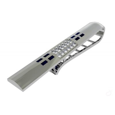 5fe36cce7962 Platinum tie clip studded with blue gems and white diamonds  .....Saphire-Diamond Tie-Pins For Men