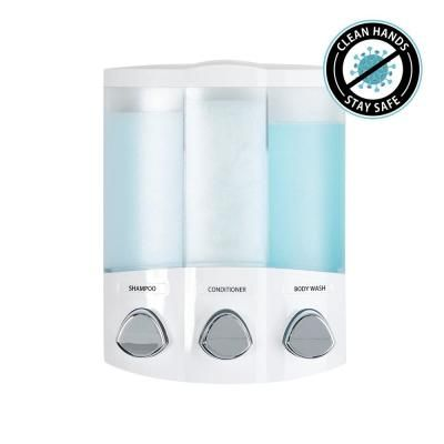 Better Living Trio Dispenser In White 76354 1 The Home Depot In 2020 Shower Accessories Safe Shampoo Dispenser