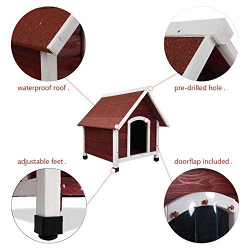 Petsfit 28 X 30 X 30 Inches Wooden Dog House Wood Pet House