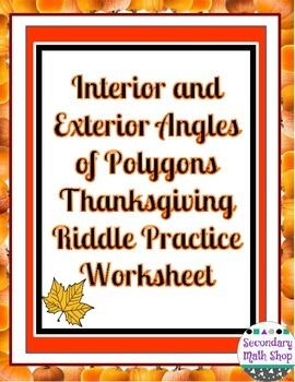 Interior and exterior angles of polygons thanksgiving prac also this is an question practice workhsheet that centers around the rh pinterest