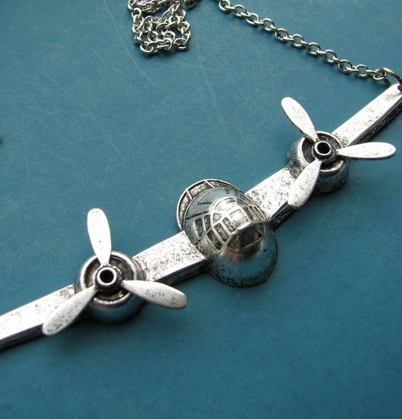 airplane necklace  silver  moving propellers  by friendlygesture, $28.00