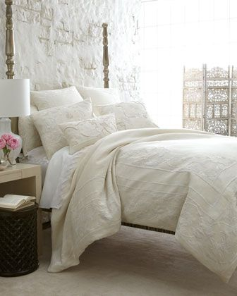 Callisto Home Destiny Bed Linens - Horchow tonal white ivory embroidered linen bedding shams coverlet duvet cover pillows