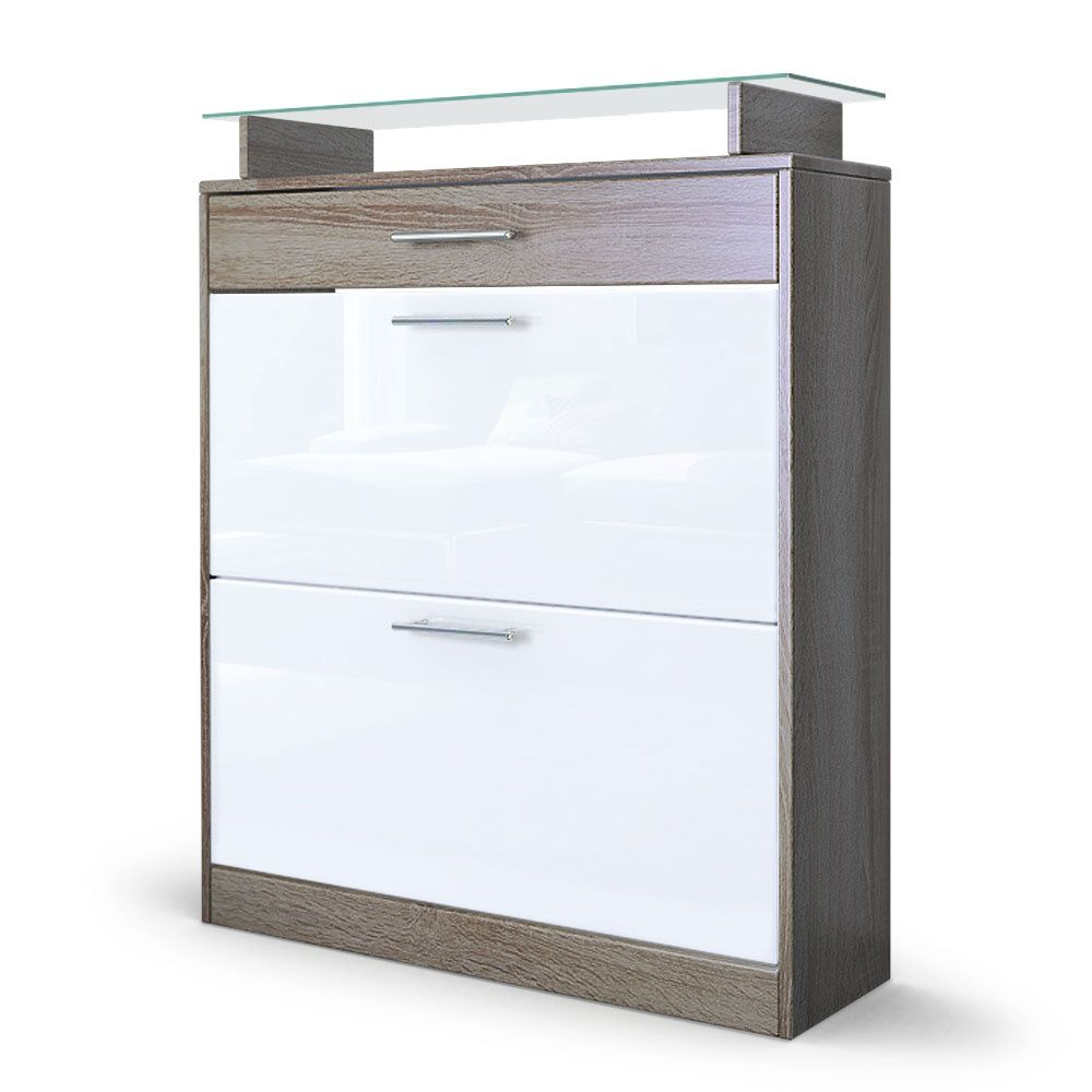 loret schuschrank mit 2 schuhkippern und einer schublade f r 16 paar schuhe reduziert bei. Black Bedroom Furniture Sets. Home Design Ideas