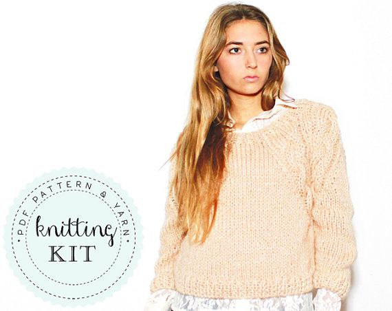 Sophie knitting KIT size XS-S-M sweater in cream by ovejanegra