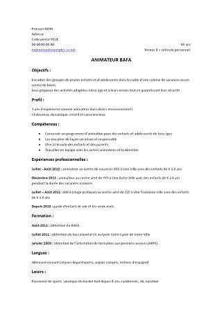 Exemple De Cv Pour L Animation Cv Anonyme Exemple Cv Modeles De Lettres Animateur Bafa