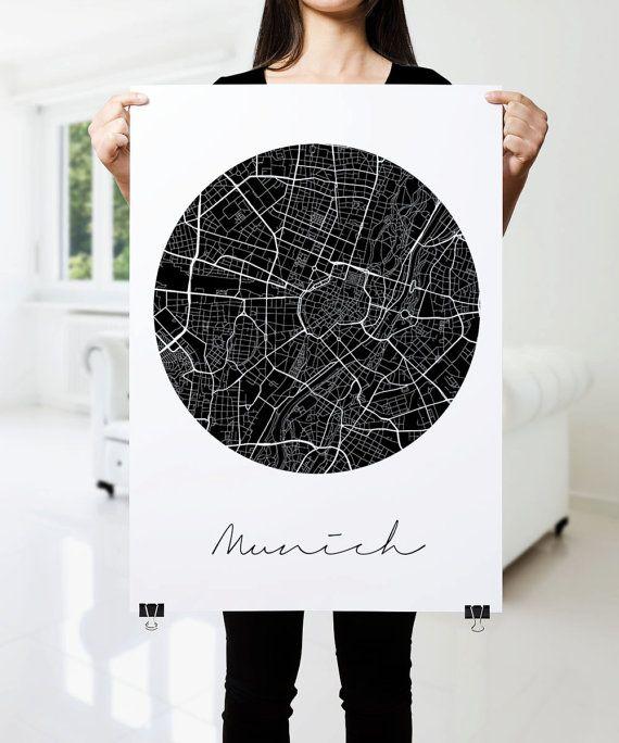 München Karte Schwarz Weiß.Munich Map Print Modern City Poster Black And White Minimal Wall