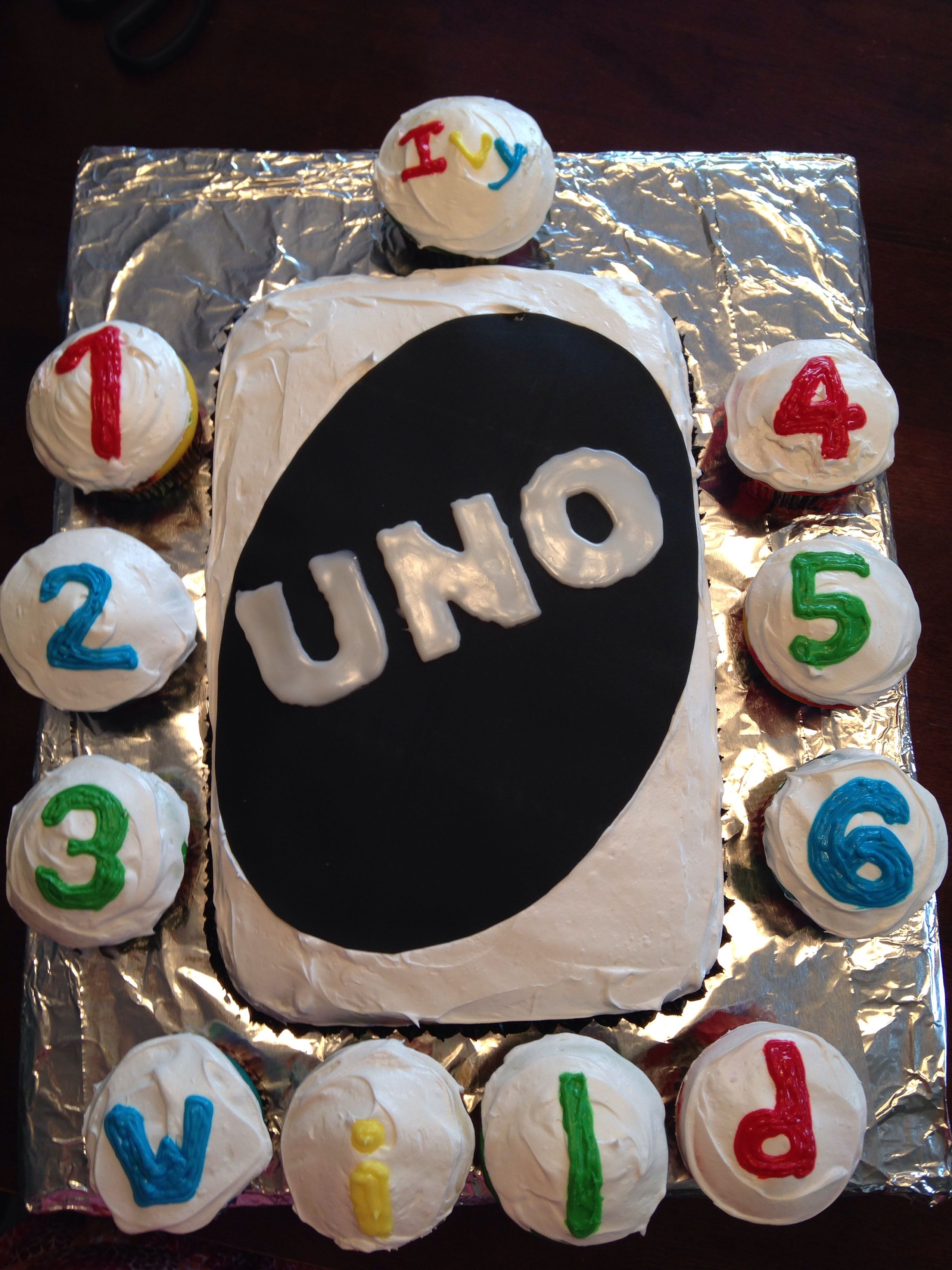 Black and white UNO card cake using Wilton sugar sheets