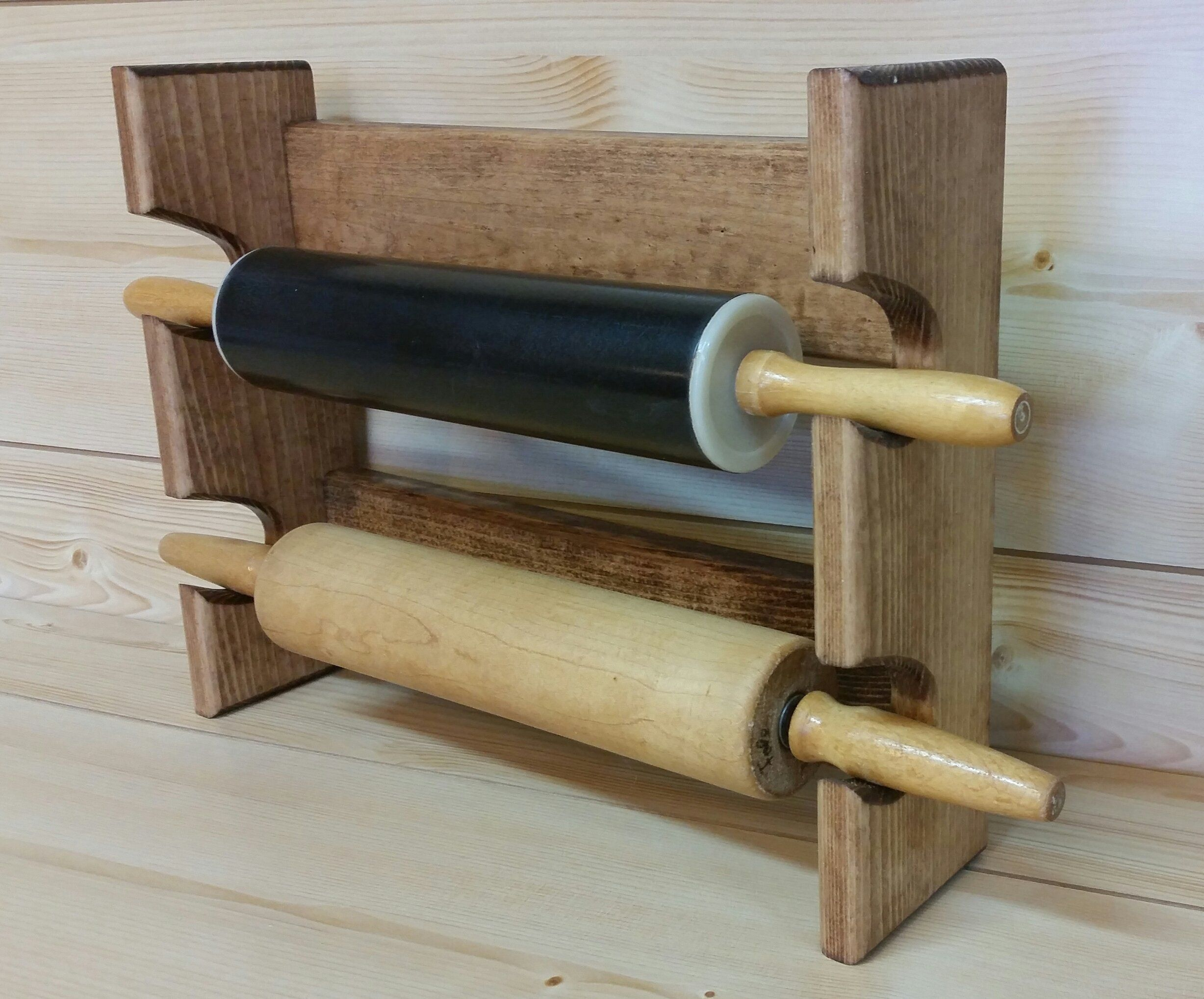 Rolling Pin Rack With Two Slots Multiple Rolling Pin Rack Rolling Pin Holder Rolling Extra Kitchen Storage Small Bathroom Storage Diy Cheap Kitchen Cabinets