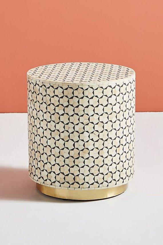 Bone Inlay Round Side Table Geometric Design Brass