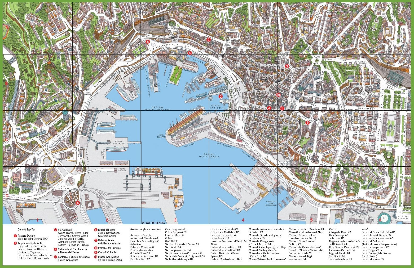 Tourist map of Genoa city centre City maps Pinterest Tourist