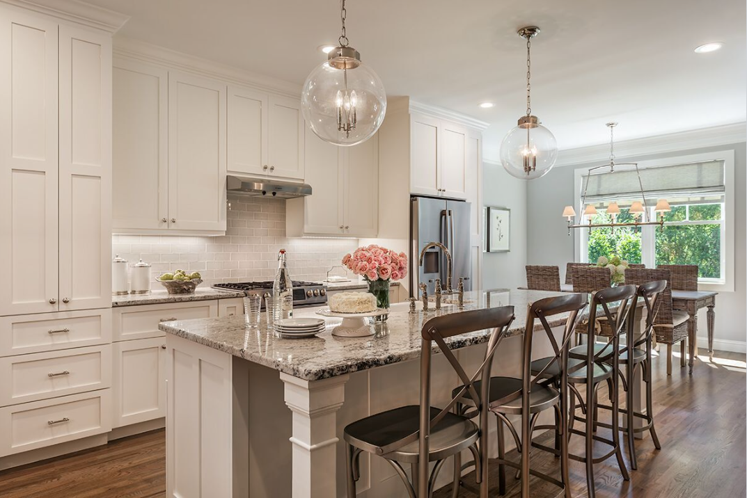 Kitchen cabinets painted white dove. Colonial white granite and ...