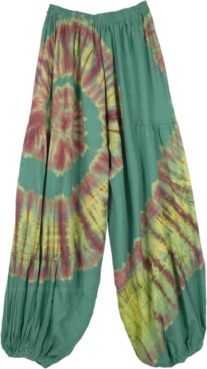 Swirly Sage Green Classic Hippie Harem Pants