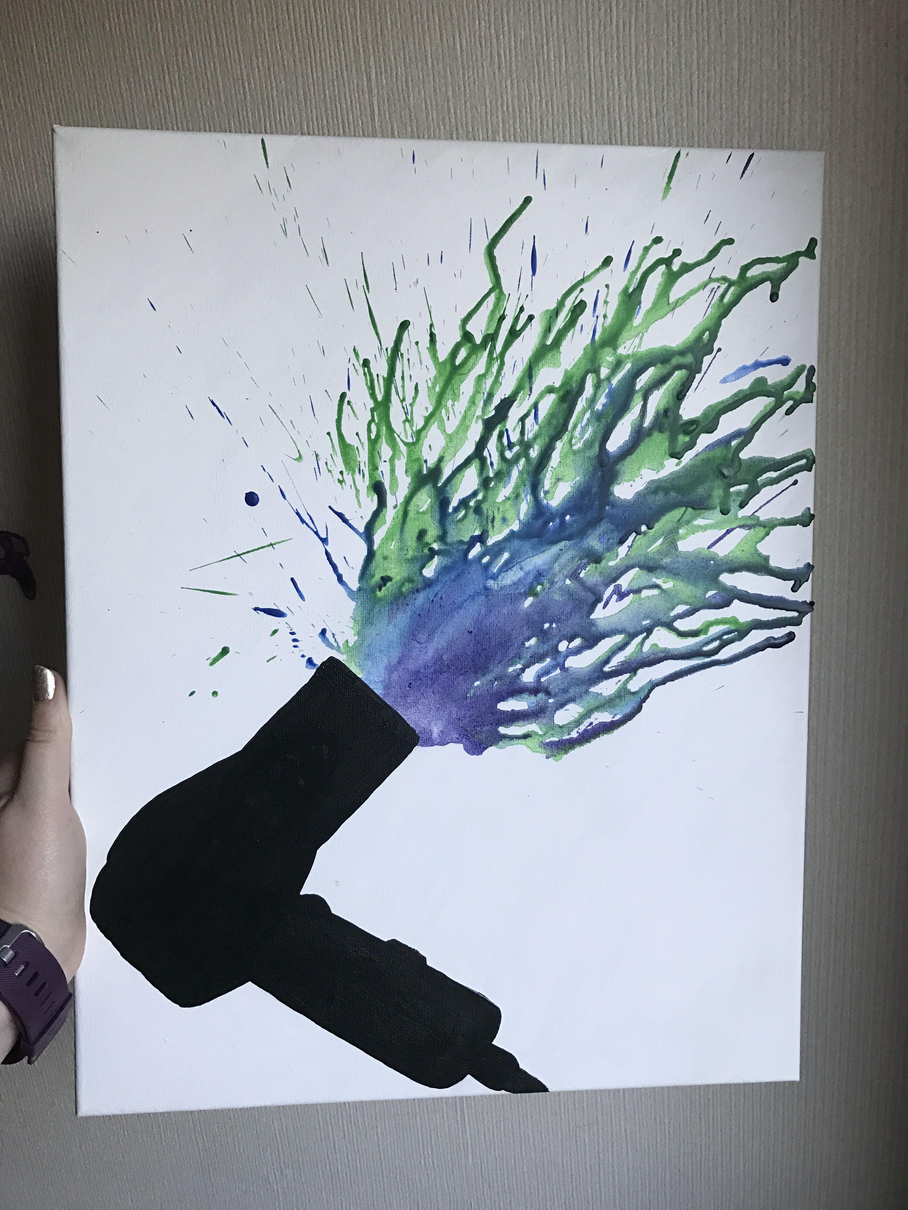 Diy Salon Art Silhouette Hair Dryer Black Paint With Crayon