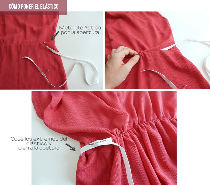 como poner elástico cintura vestido | Vestido de costura