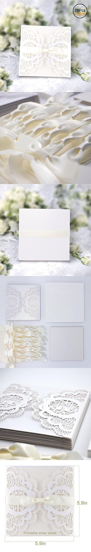 Elegant Invitations Cards Kits, Gospire 20PCs Laser Cut Lace Wedding ...