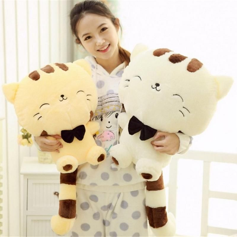45CM Cute Big Face Smiling Cat Plush Doll Cushion Fortune Cat Stuffed Toys -- BuyinCoins.com