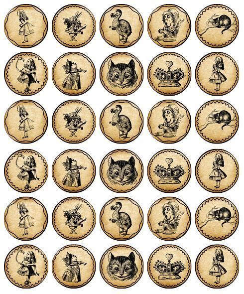 30 x ALICE IN WONDERLAND Party Edible Wafer Paper Cupcake Toppers *PRECUT*