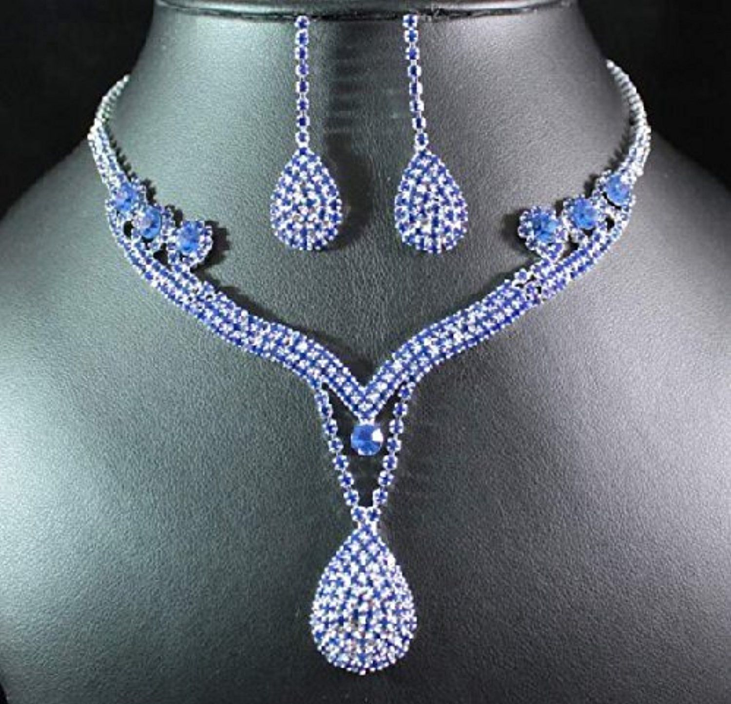 Taoqiao royal blue austrian rhinestone artificial zircon necklace