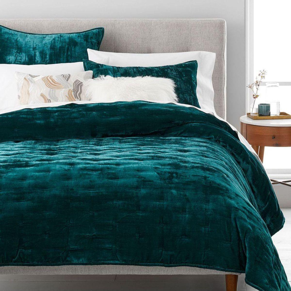 Lush Velvet Tack Stitch Coverlet + Pillowcases Botanical