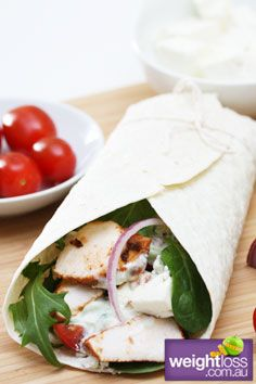 Healthy Lunch Recipes: Tandoori Chicken Wraps. #HealthyRecipes #DietRecipes #WeightlossRecipes weightloss.com.au