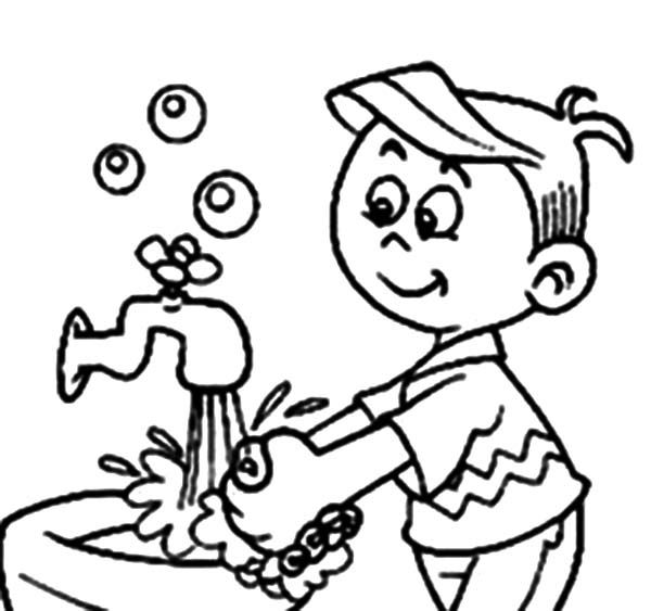 washing your hands coloring pages-#1