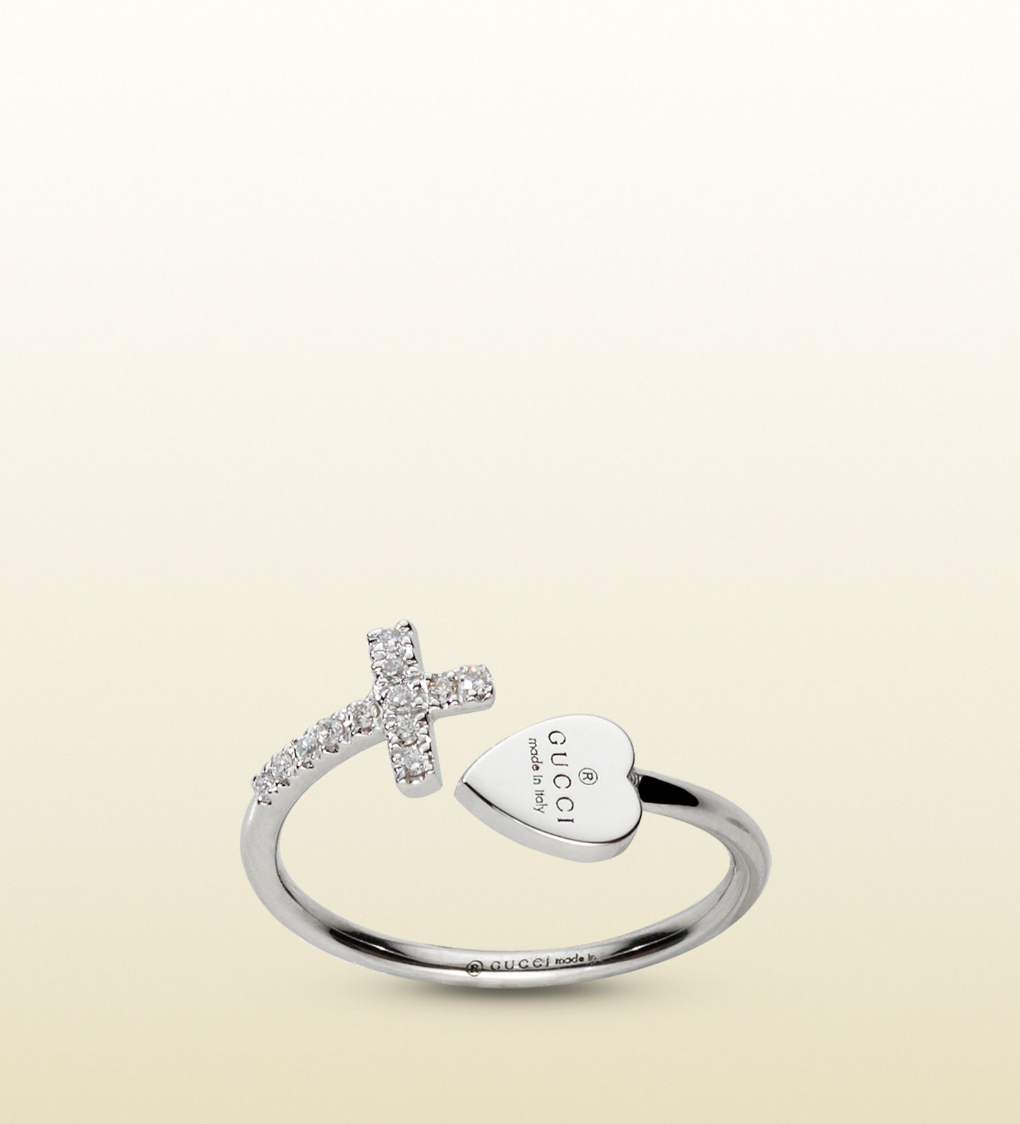 00cefd6dd ring with cross and gucci trademark engraved heart | Products I Love ...
