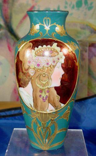 Antique Art Nouveau Mucha Porcelain Vase Shutz Marke Ebay Art
